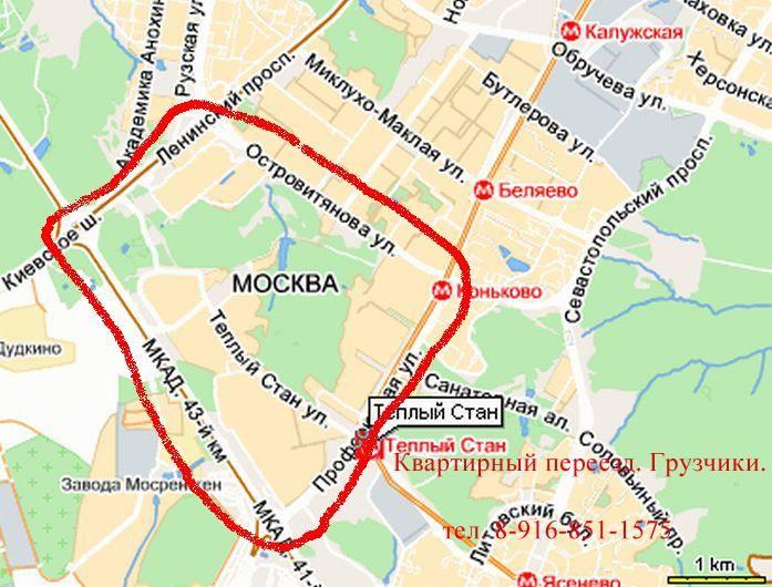 Карта района Теплый Стан.